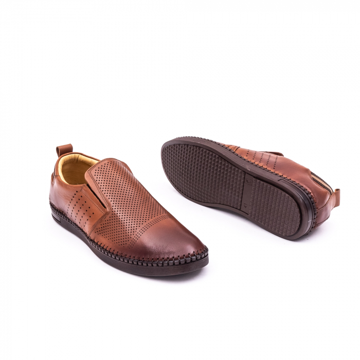 Pantofi barbati casual piele naturala Catali 191543, coniac 2