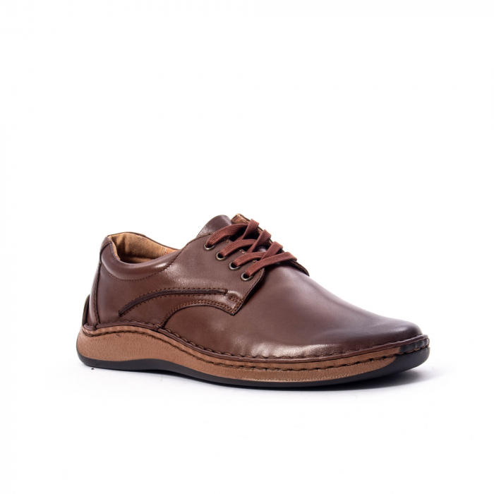 Pantofi Leofex 918 casual barbat piele naturala, maro 0