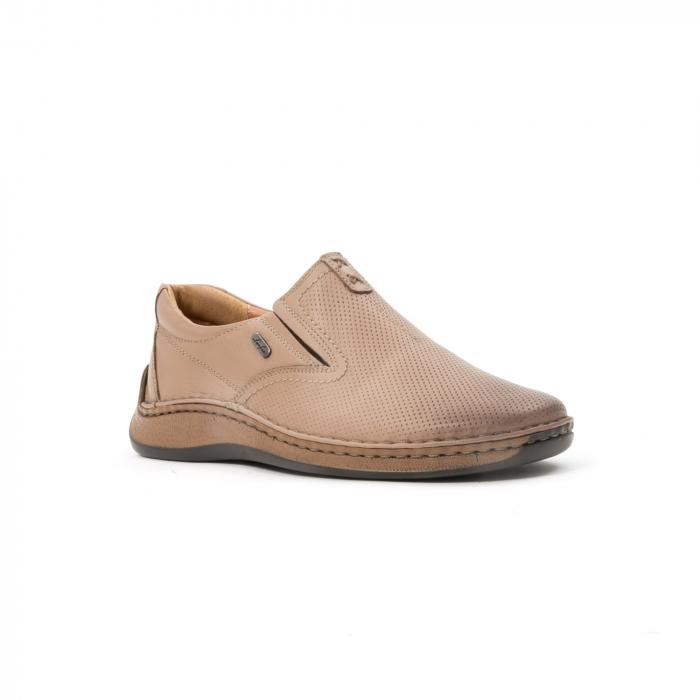 Pantofi barbati casual, piele naturala, Leofex 919, taupe