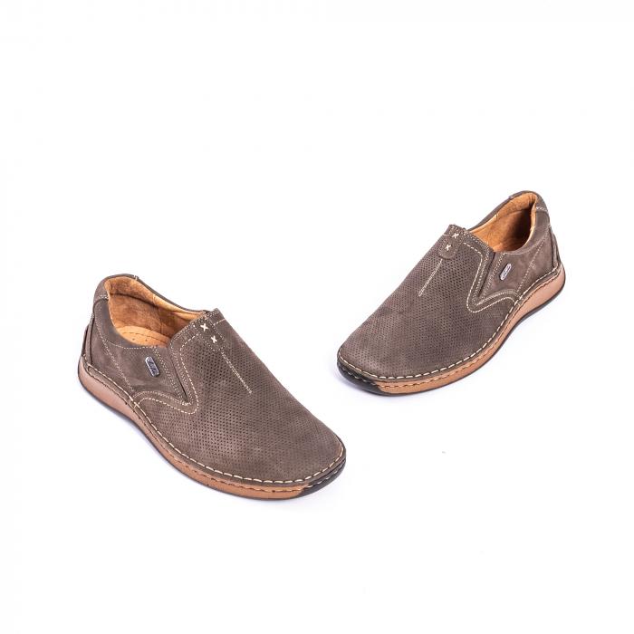 Pantofi barbati casual, piele naturala,Leofex 919, taupe nubuc 1