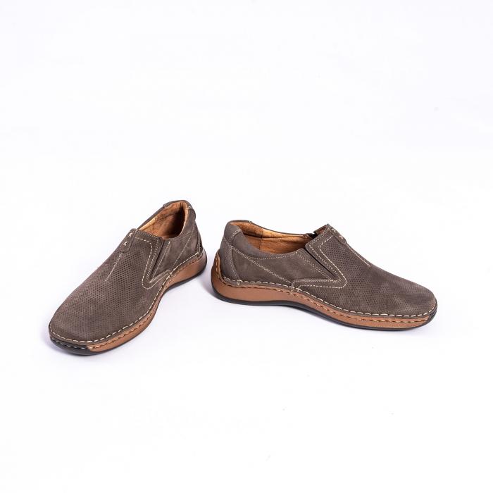 Pantofi barbati casual, piele naturala,Leofex 919, taupe nubuc 4