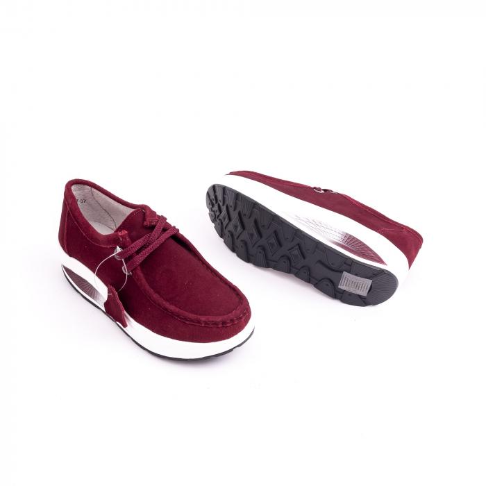 Pantof casual dama F003-1807 burgundy suede