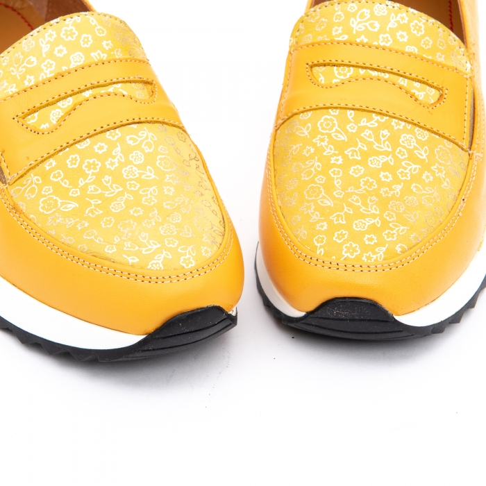 Pantof casual dama LFX 100 galben serigrafiat 5
