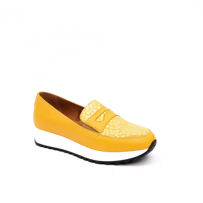 Pantof casual dama LFX 100 galben serigrafiat 0