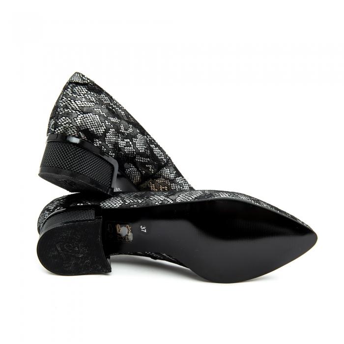 Pantof dama 1010 negru-gri suede 4