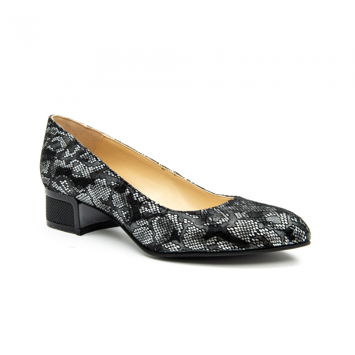 Pantof dama 1010 negru-gri suede 0