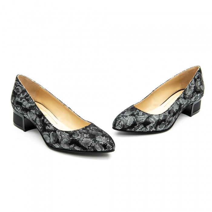 Pantof dama 1010 negru-gri suede 2