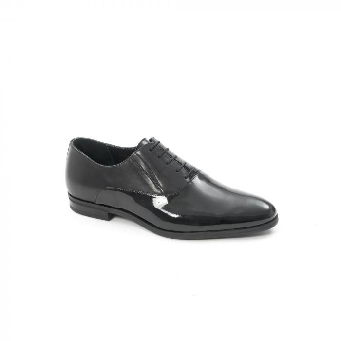 Pantof elegant barbat LFX 526 negru box cu lac. 0