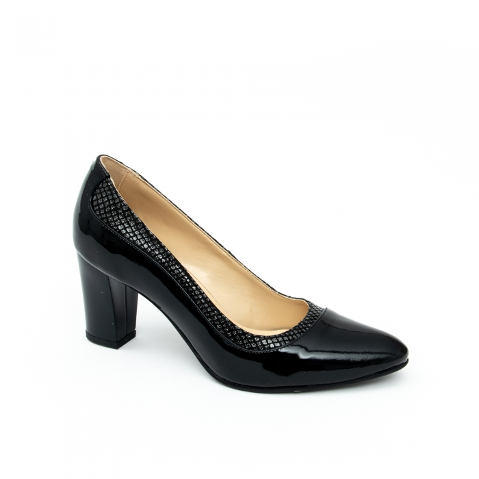 Pantof elegant dama cod 1012 negru lac 0
