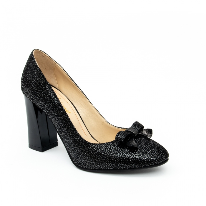 Pantof elegant dama -cod 1110 negru  glitter 0