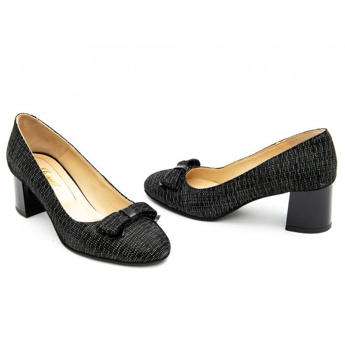 Pantof elegant dama ,cod 1111 negru cu picatele 3