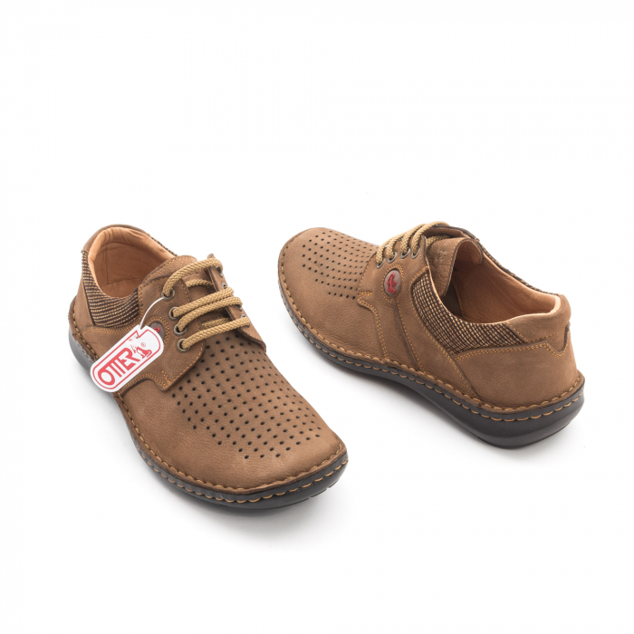 Pantofi barbati de vara piele naturala Otter 9560 04-2, coniac 2