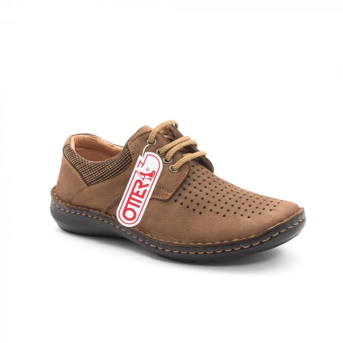 Pantofi barbati de vara piele naturala Otter 9560 04-2, coniac 0