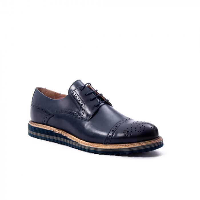 Pantofi barbati casual, piele naturala, Leofex 537, bleumarin 0