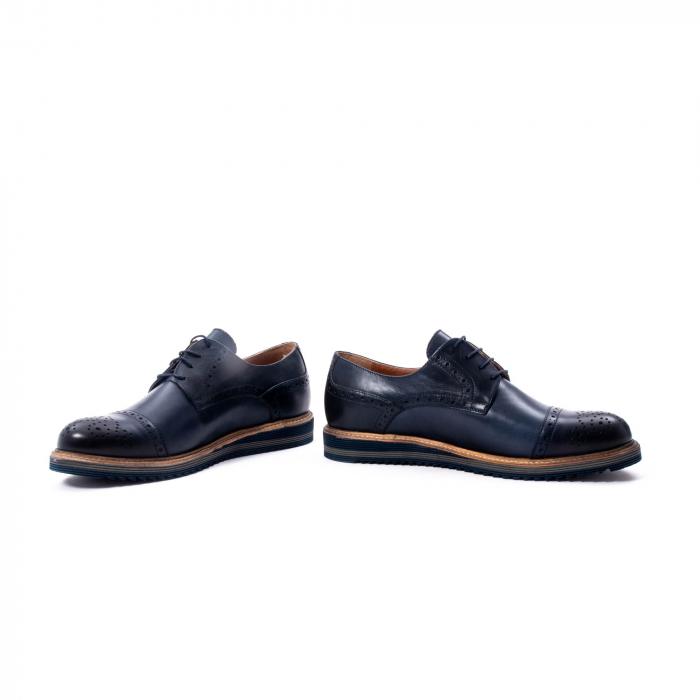 Pantofi barbati casual, piele naturala, Leofex 537, bleumarin 4