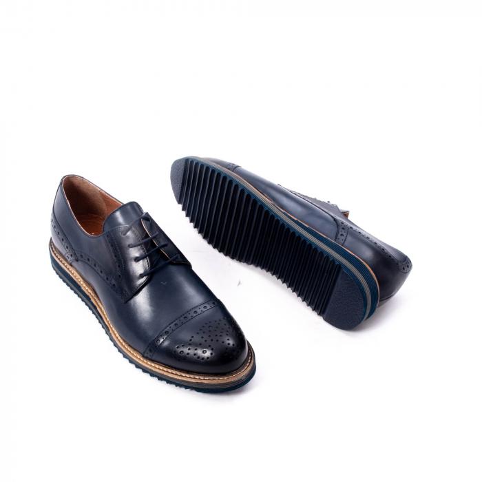 Pantofi barbati casual, piele naturala, Leofex 537, bleumarin 3
