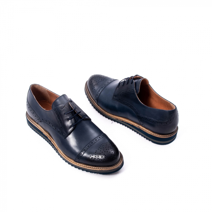 Pantofi barbati casual, piele naturala, Leofex 537, bleumarin 2