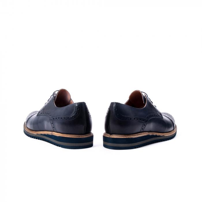 Pantofi barbati casual, piele naturala, Leofex 537, bleumarin 6