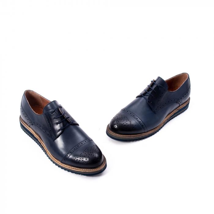 Pantofi barbati casual, piele naturala, Leofex 537, bleumarin 1