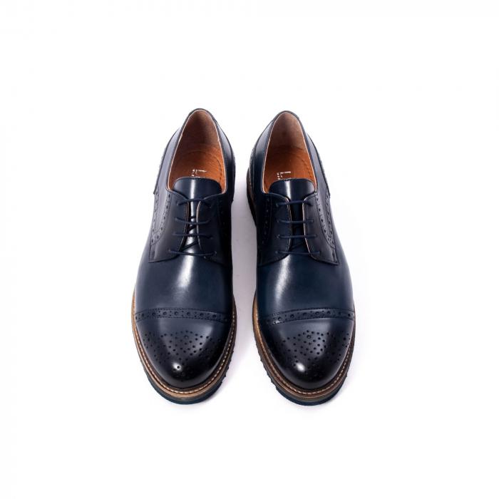 Pantofi barbati casual, piele naturala, Leofex 537, bleumarin 5