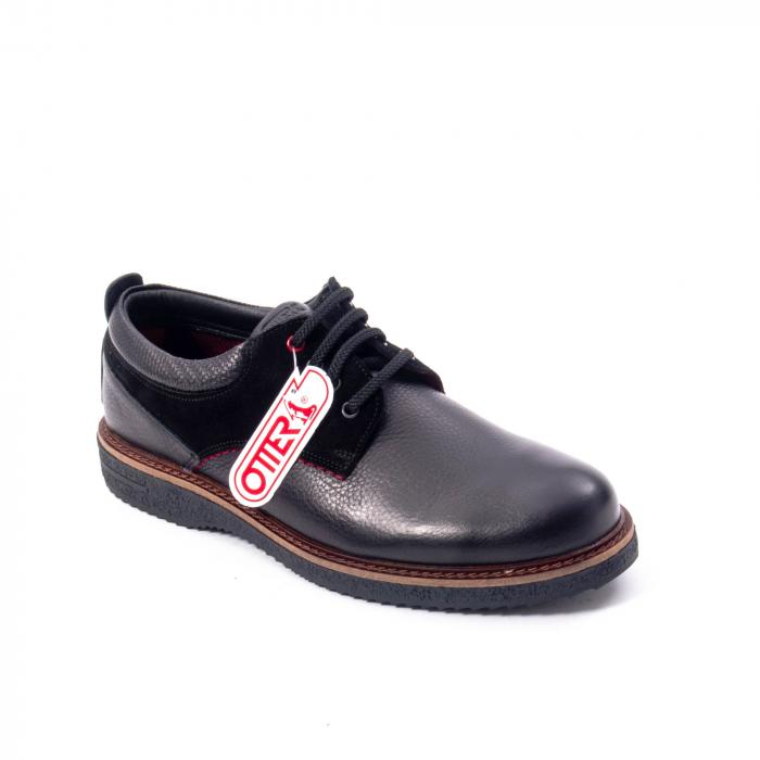 Pantofi barbati casual piele naturala, Otter 020, negru 0