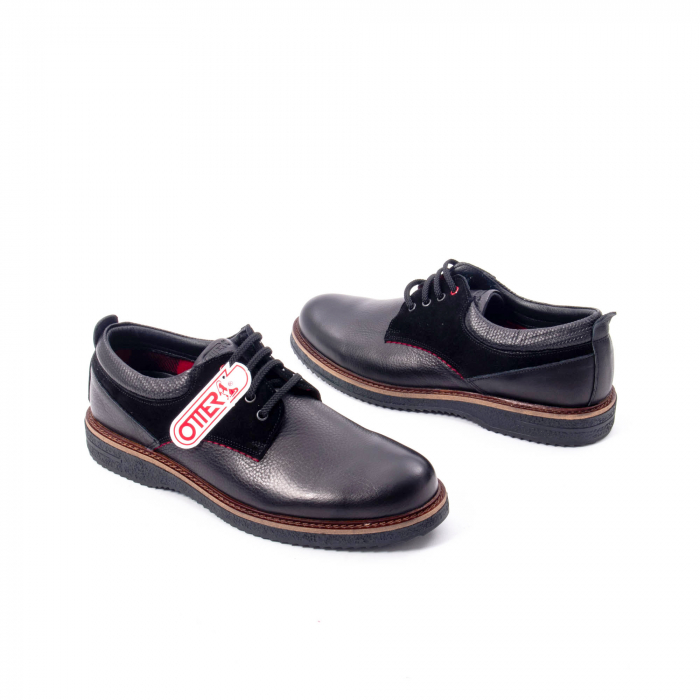 Pantofi barbati casual piele naturala, Otter 020, negru 2