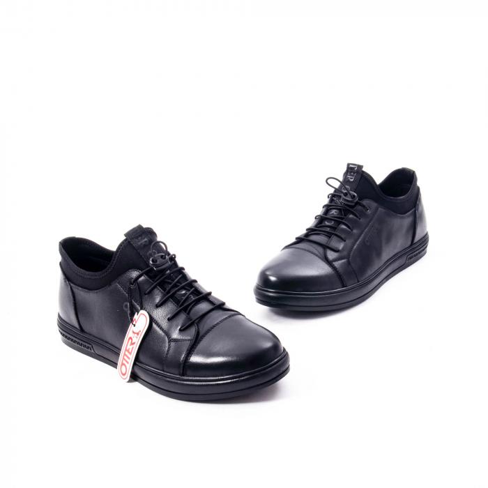 Pantofi casual barbat, piele naturala, Otter QRA42617 01-N negru 1