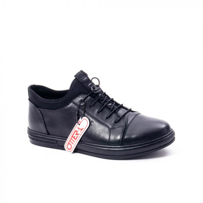 Pantofi casual barbat, piele naturala, Otter QRA42617 01-N negru 0