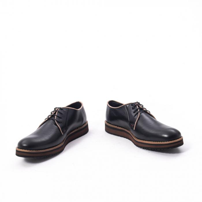 Pantofi casual barbati din piele naturala, Catali 505, negru 4