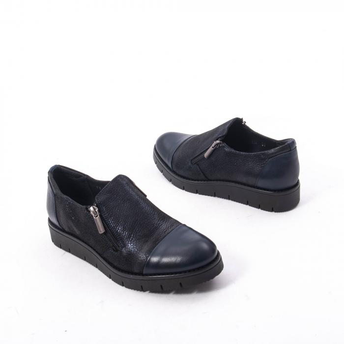 Pantofi casual dama din piele naturala, Catali 182634,bleumarin 4