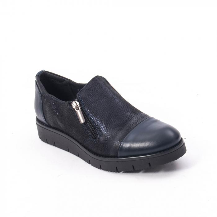 Pantofi casual dama din piele naturala, Catali 182634,bleumarin 0