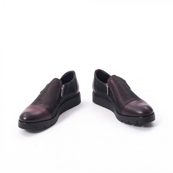 Pantofi casual dama din piele naturala, Catali 182634, bordo 1