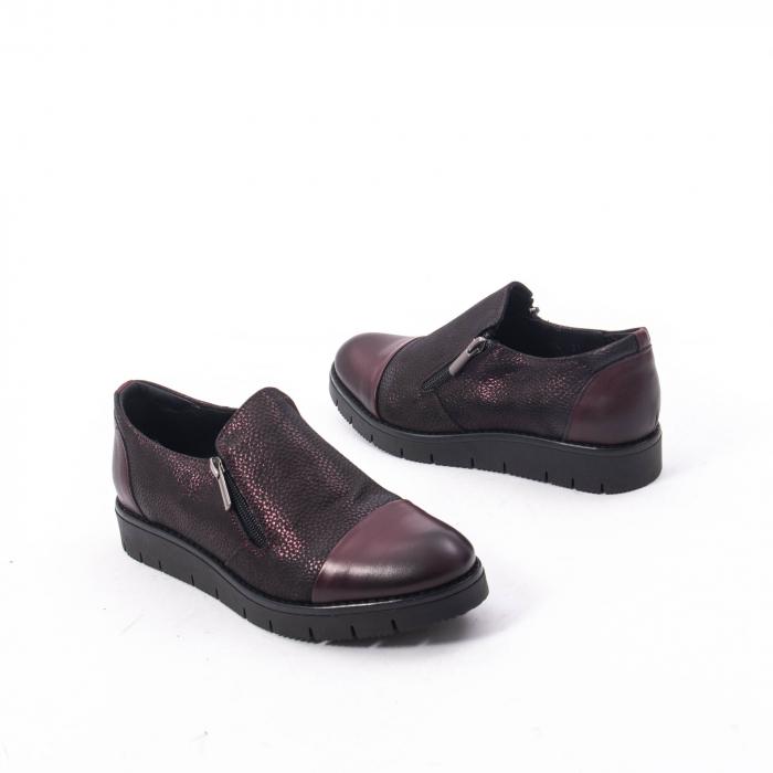 Pantofi casual dama din piele naturala, Catali 182634, bordo 2