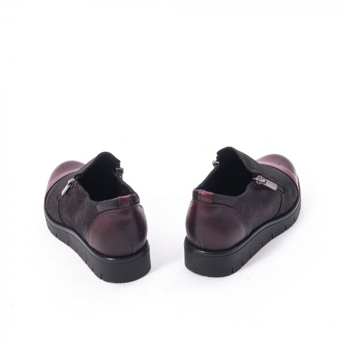 Pantofi casual dama din piele naturala, Catali 182634, bordo 3