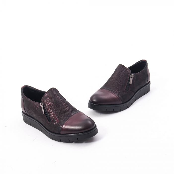 Pantofi casual dama din piele naturala, Catali 182634, bordo 4