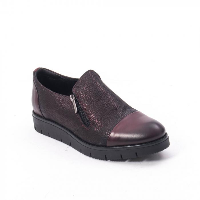 Pantofi casual dama din piele naturala, Catali 182634, bordo 0