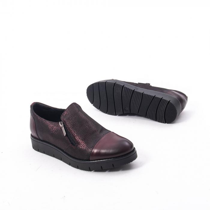 Pantofi casual dama din piele naturala, Catali 182634, bordo 5