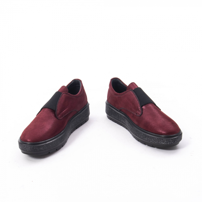 Pantofi casual dama piele naturala Catali 192858, bordo 2