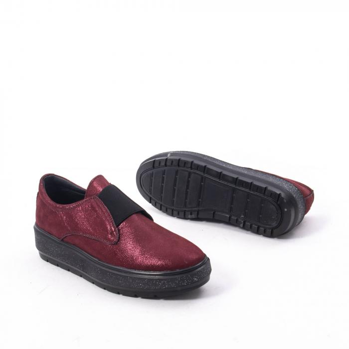 Pantofi casual dama piele naturala Catali 192858, bordo 5