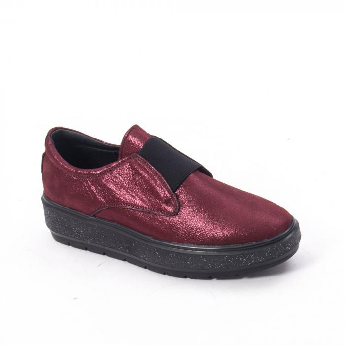 Pantofi casual dama piele naturala Catali 192858, bordo 0