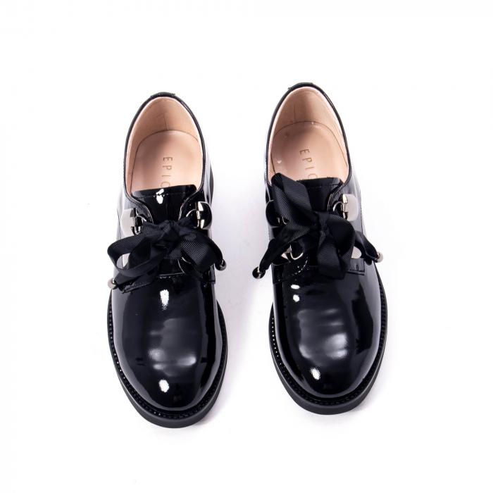 Pantofi casual dama din piele naturala Epica jixs320-01,negru lac 2