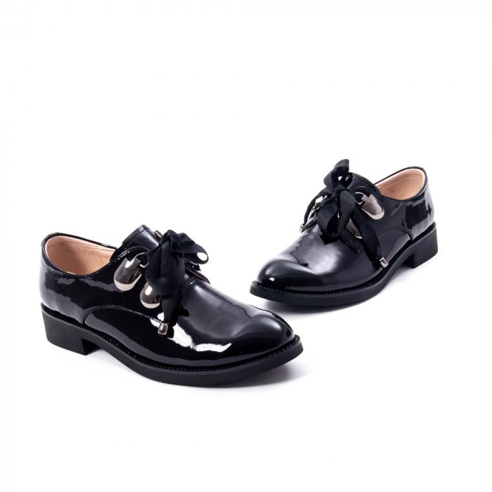 Pantofi casual dama din piele naturala Epica jixs320-01,negru lac 4