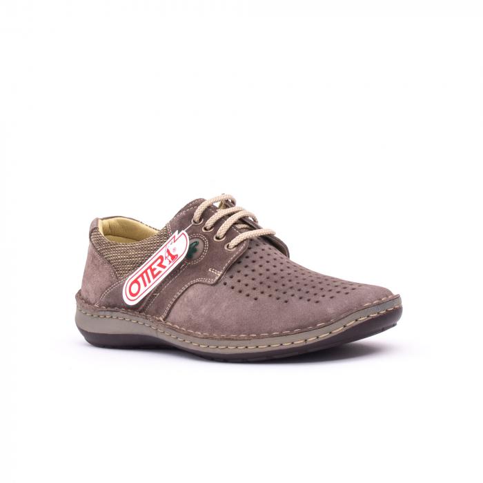 Pantofi barbati de vara, piele naturala nabuc, Otter 9560,  gri 0