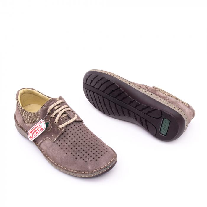 Pantofi barbati de vara, piele naturala nabuc, Otter 9560,  gri 2