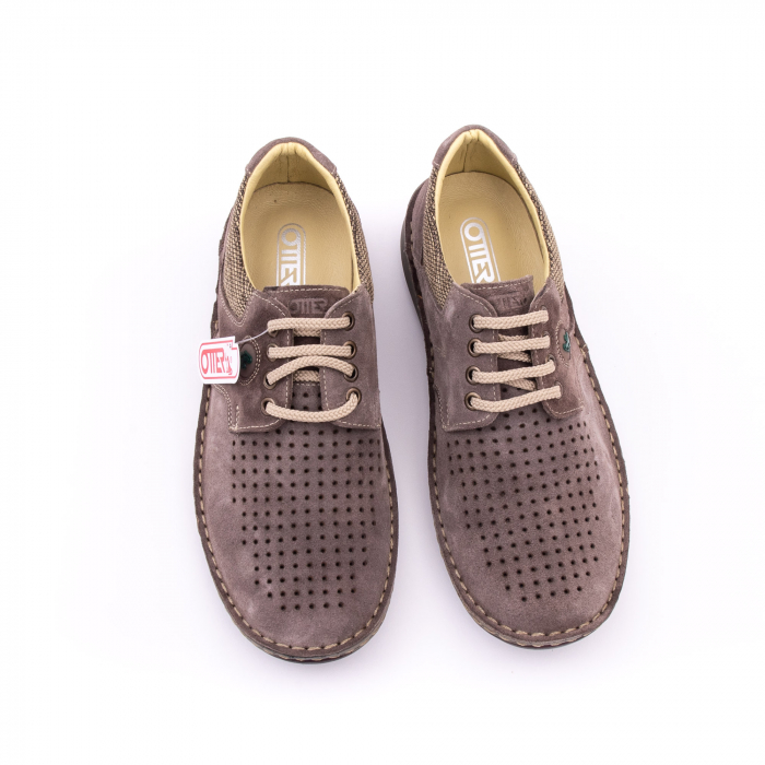 Pantofi barbati de vara, piele naturala nabuc, Otter 9560,  gri 6
