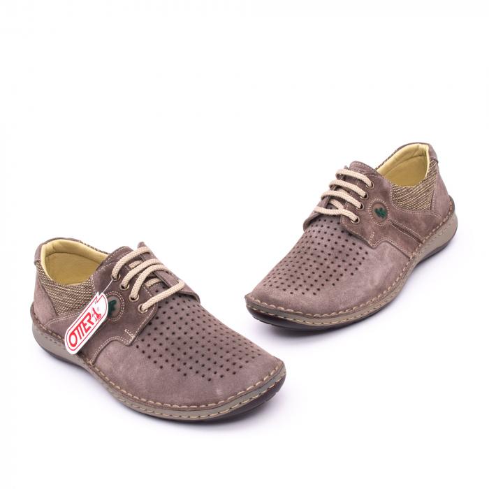 Pantofi barbati de vara, piele naturala nabuc, Otter 9560,  gri 1