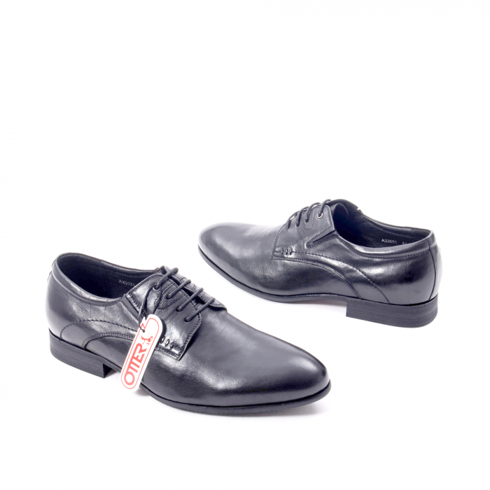 Pantofi eleganti barbat din piele naturala Otter QRA33531 01-N,negru 2