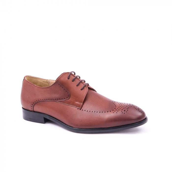 Pantofi barbati eleganti piele naturala Nevalis 116, coniac 0