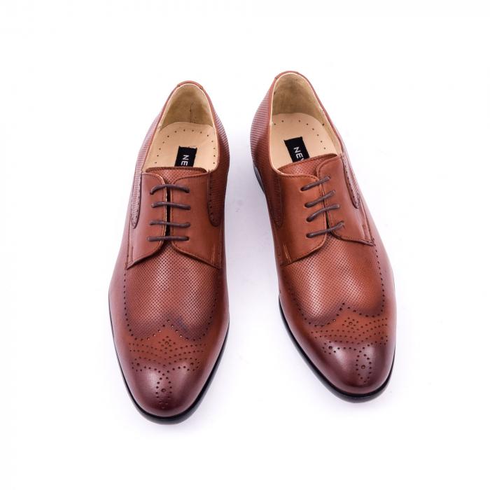 Pantofi barbati eleganti piele naturala Nevalis 116, coniac 5