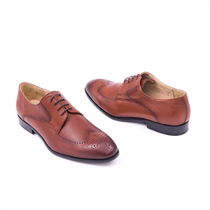 Pantofi barbati eleganti piele naturala Nevalis 116, coniac 2